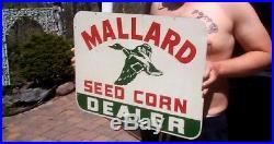 Vintage Mallard Duck Seed Corn Dealer Sign Farm Cow Pig Swine Chicken Horse