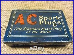 Vintage Metal AC Spark Plugs Storage Box Antique Automotive Part Store 9369