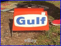 Vintage Metal Gulf Tire Display Rack Sign Gas & Oil Gasoline Service Station
