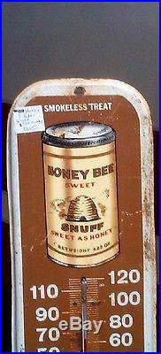 Vintage Metal Honey Bee Snuff Tin Chewing Tobacco Thermometer Sign 16inX6 WORKS