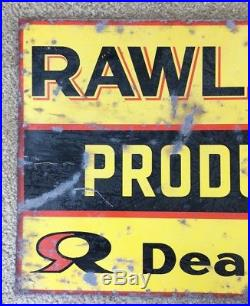 Vintage Metal Rawleigh Products Dealer Double Sided Flange Advertising Sign