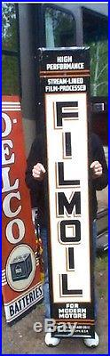 Vintage Metal Vertical Filmoil Sign Gas Oklahoma City Gasoline Oil 71inX12in