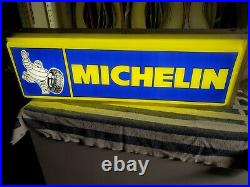 Vintage Michelin Tires Double Sided Lighted Up Sign Bibendum 36'' X 12'' X 6