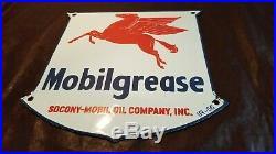 Vintage Mobil Gasoline Porcelain Gas Oil Pegasus Service Station Pump Plate Sign