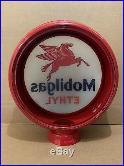 Vintage Mobilgas Glass Gas Pump Globe Original Station Garage Ethyl Sign Pegasus