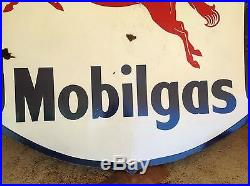 Vintage Mobilgas Pegasus Porcelain Sign Huge Size 75 X 75 Gas Oil Sign