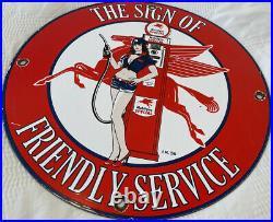 Vintage Mobilgas Special Porcelain Gas Station Sign Mobil Pegasus Gasoline Oil
