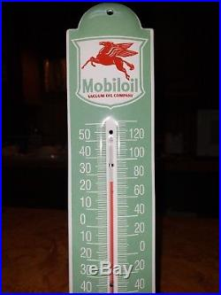 Vintage Mobiloil Thermometer Gasoline and Oil Advertising PORCELAIN Sign