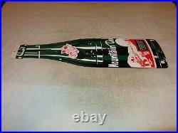 Vintage Mountain Dew Hillbilly +gun Bottle Die-cut 27 Porcelain Metal Soda Sign