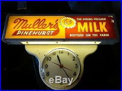 Vintage Muller's Pinehurst Milk Advertising lighted Sign Clock