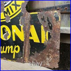 Vintage National Benzole Mixture Petrol Pump Enamel Sign Automobilia Original