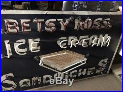 Vintage Neon Sign Rare Betsy Ross Ice Cream Sandwiches