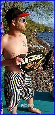 Vintage Nesbitts Orange Soda Pop Metal Flange Sign 18X14