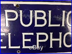 Vintage New England Telephone Bell System Public Telephone Porcelain Sign RARE
