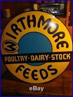 Vintage Nos Large Wirthmore Farm Feeds Round Tin Metal Sign