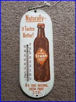 Vintage Orange Crush Metal Advertising Thermometer Sign