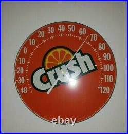Vintage Orange Crush Thermometer Super Clean Glass Cover Not Plastic. Works