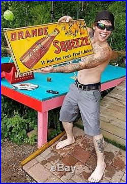 Vintage Orange Squeeze Soda Pop Metal Sign With Fruit & Bottle Graphics 28X13