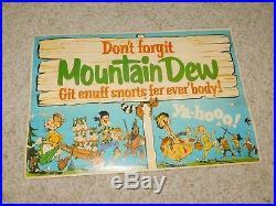Vintage Origiinal 1960-70s Mountain Dew Store Advertising Git Enuff Snorts