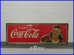 Vintage Original 1940 Drink Coca Cola 33 x12 metal Soda Bottle Sign with Girl
