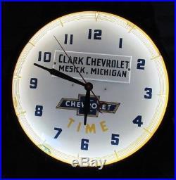 Vintage Original 1948 Clark Chevrolet Neon Dealer Advertising Clock Sign