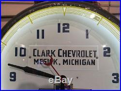 Vintage Original 1948 Clark Chevrolet Neon Dealer Advertising Clock Sign Runs
