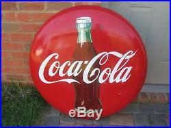 Vintage Original 1950's 36 Inch Coca-cola Button Sign With Original Hanger