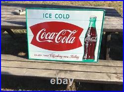 Vintage Original 1950's Coca Cola Bottle Double Fishtail Tin Sign Near Mint