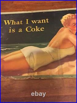 Vintage Original 1952 Coca Cola / Coke Cardboard Sign 27-1/2 x 56-1/2. RARE