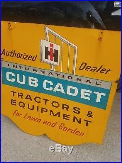Vintage Original 2 side IH International Harvester Cub Cadet tractor Dealer Sign
