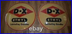 Vintage Original DX ETHYL GAS STATION MOTOR OIL ADVERTISING PUMP GLOBE LENSES