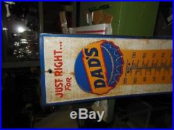 Vintage Original Dad's Dads Root Beer Tin Soda Advertising Thermometer Sign