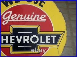 Vintage Original Genuine Chevrolet Parts 19 X 17 Flange Metal Signrare! Nice