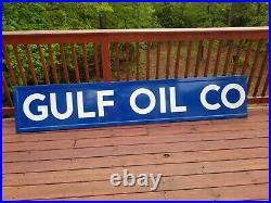 Vintage Original Gulf Oil Corporation Porcelain Sign 111x21