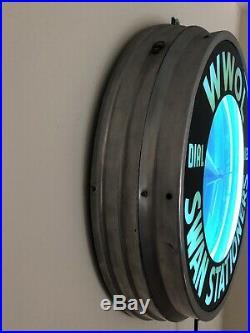 Vintage Original Modern Radio Station WWOL Modern Mfg. Brooklyn NY Neon Clock