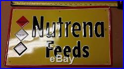 Vintage Original Nutrena Feeds Metal Tin Embossed Sign Advertising