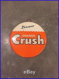 Vintage Original Orange Crush Soda Advertising Sign Celluloid Great Display