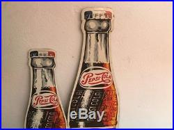 Vintage Original Pepsi Cola Mexican Bottle Tin Metal Wall Sign From 50's Bigsize