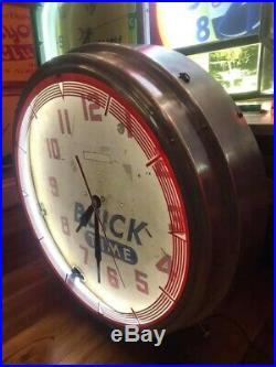 Vintage Original Quality Buick Neon Dealer Advertising Clock Sign Runs