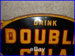 Vintage Original RARE HTF DOUBLE COLA SODA ARROW DIRECTIONAL ADVERTISING SIGN