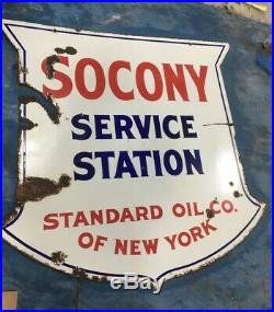 Vintage Original Socony Porcelain Sign 48 Gas Station Standard Oil Company