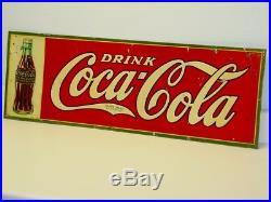Vintage Original Tin Drink Coca-Cola Sign, Dasco 1931, Soda Pop Advertising