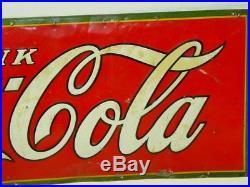 Vintage Original Tin Drink Coca-Cola Sign, USA 1930, Soda Pop Advertising