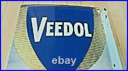Vintage Original Veedol Flying A Motor Oil Double Sided Porcelain Flange Sign