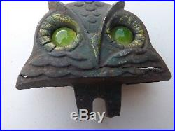 Vintage Owl License Plate Topper Glass Eyes National Colortype Kentucky GAS OIL