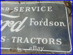 Vintage PORCELAIN LINCOLN FORD FORDSON CARS TRUCKS TRACTORS Advertising SIGN