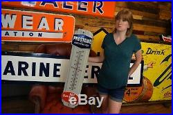 Vintage PRESTONE ANTI-FREEZE THERMOMETER PORCELAIN Gas Oil Sign Advertising