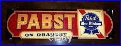 Vintage Pabst Blue Ribbon Beer Lighted Sign Advertising Man Cave Bar