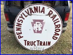 Vintage Pennsylvania Railroad Truc Train Advertising Porcelain Sign Reading, PA