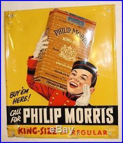 Vintage Phillip Morris Cigarette Tobacco Embossed Tin Advertising Sign NICE